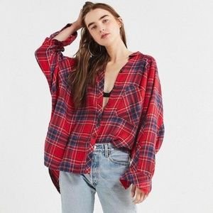 Urban Outfitters Red and Blue Drapey Flannel